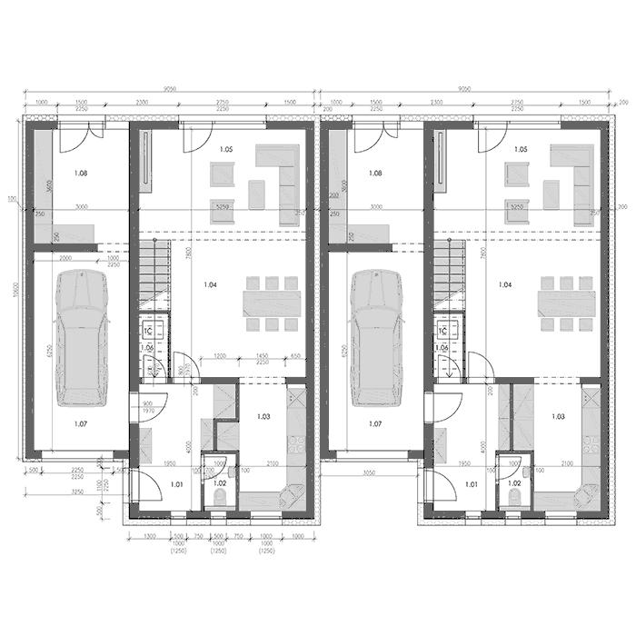 Pozemky Mohelnice - Řadové domy - výkres - první nadzemní podlaží  - dvě varianty