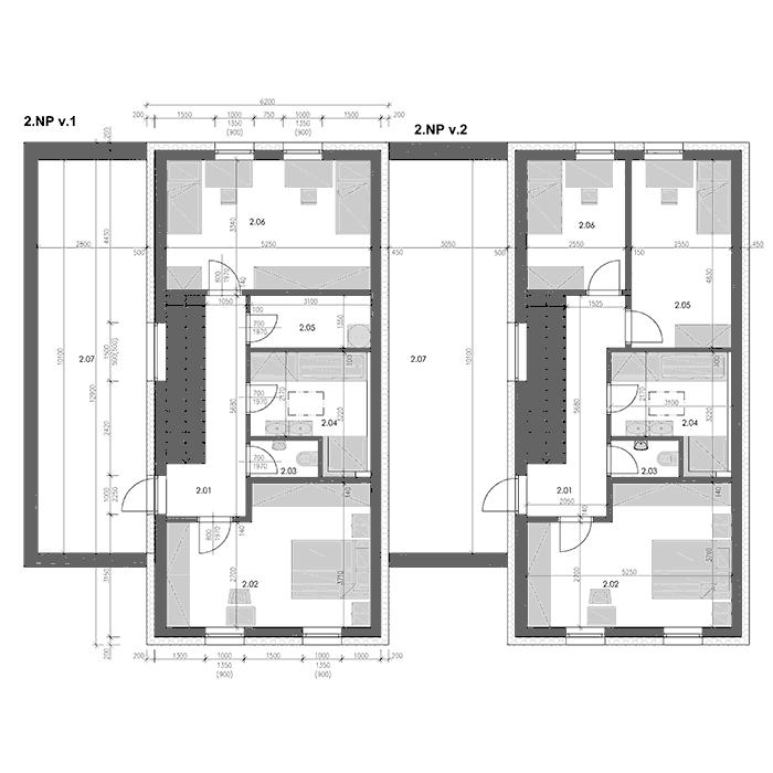 Pozemky Mohelnice - Řadové domy - výkres - druhé nadzemní podlaží - dvě varianty