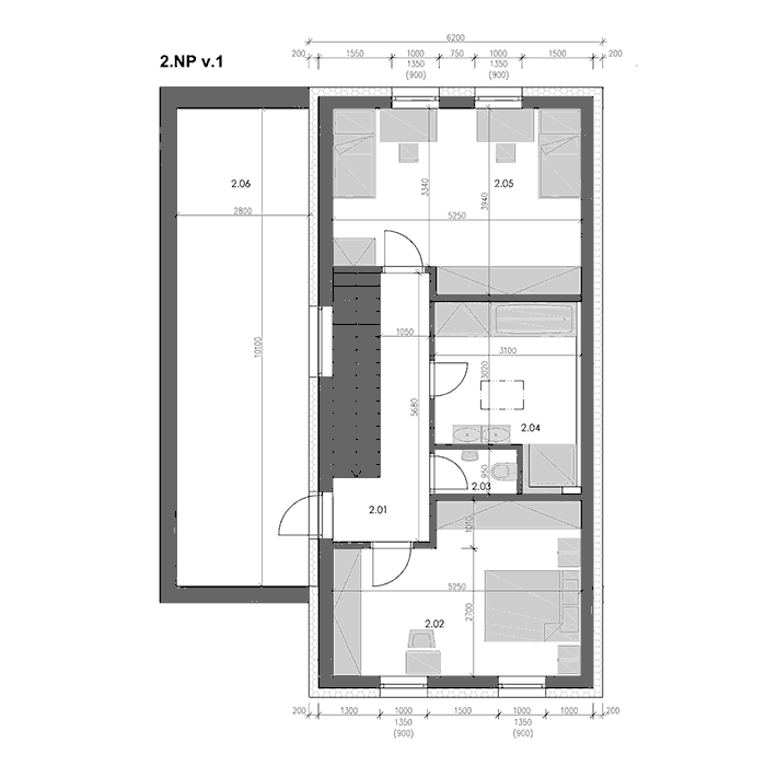 Pozemky Mohelnice - Řadové domy - výkres - druhé nadzemní podlaží - třetí varianta